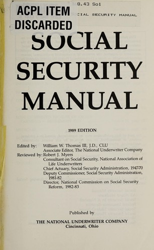 Social Security Manual-1989 by National Underwriter
