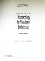 Cover of: Fundamentals of pharmacology for veterinary technicians | Janet Amundson Romich