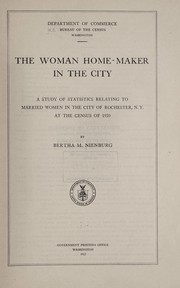 Cover of: The woman home-maker in the city | United States. Bureau of the Census