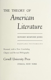 Cover of: The theory of American literature. | Howard Mumford Jones