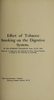 Cover of: Effect of tobacco smoking on the nervous system | Rolleston, Humphry Davy Sir