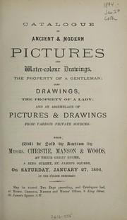 Cover of: Catalogue of ancient & modern pictures and water-colour drawings | Christie, Manson & Woods
