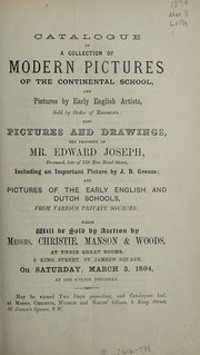 Cover of: Catalogue of a collection of modern pictures of the Continental School, and pictures by early English artists | Christie, Manson & Woods