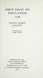 Cover of: First essay on population, 1798 | T. R. Malthus