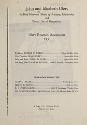 Cover of: John and Elizabeth Ulery | Ullery Reunion Association