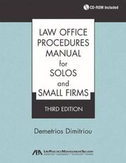 Cover of: Law Office Procedures Manual for Solos and Small Firms