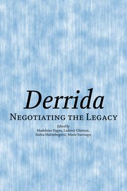 Cover of: DERRIDA: NEGOTIATING THE LEGACY; ED. BY MADELEINE FAGAN