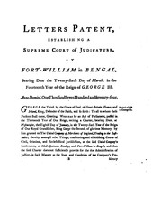 Cover of: Letters Patent, Establishing a Supreme Court of Judicature, at Fort-William, in Bengal: Bearing ...
