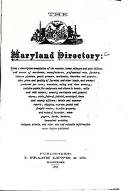 Cover of: The Maryland directory |