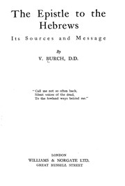 Cover of: The Epistle to the Hebrews | Vacher Burch