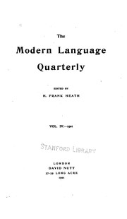 Cover of: The Modern Language Quarterly ...