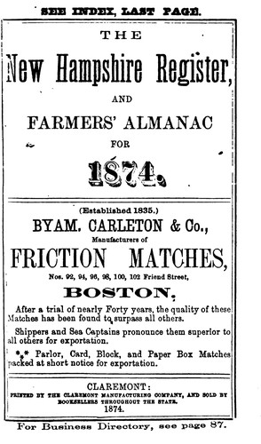 The New Hampshire Register, Farmer's Almanac and Business Directory by