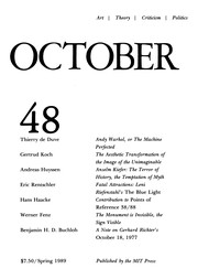 Cover of: October 48 (Art, Theory, Critcism, Politics, Spring 1989) |