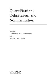 Cover of: Quantification, definiteness, and nominalization |