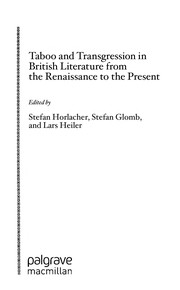 Cover of: Taboo and transgression in British literature from the Renaissance to the present