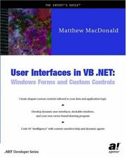 Cover of: User Interfaces in VB .NET | Matthew MacDonald