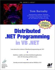 Cover of: Distributed .NET programming in VB .NET | Tom Barnaby