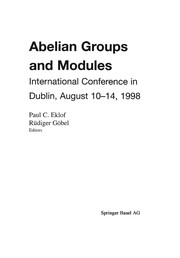 Cover of: Abelian Groups and Modules | Paul C. Eklof