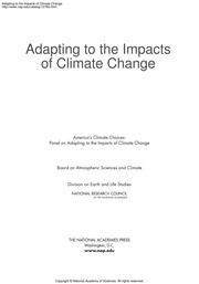 Cover of: Adapting to the impacts of climate change | National Research Council (U.S.). Panel on Adapting to the Impacts of Climate Change