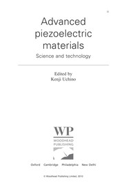 Cover of: Advanced piezoelectric materials