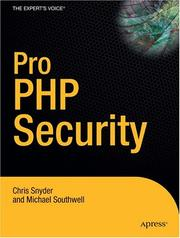 Cover of: Pro PHP Security | Chris Snyder, Michael Southwell