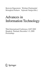 Cover of: Advances in information technology | IAIT 2009 (2009 Bangkok, Thailand)