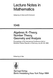 Cover of: Algebraic K-theory, number theory, geometry, and analysis |