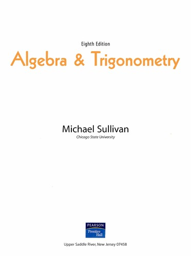 Algebra & trigonometry by Michael Joseph Sullivan Jr.
