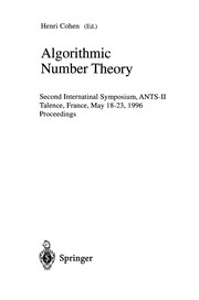 Cover of: Algorithmic number theory | Algorithmic Number TheorySymposium (2nd 1996 Talence, France)