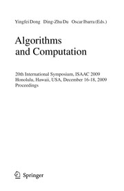 Cover of: Algorithms and computation | ISAAC (Conference) (20th 2009 Honolulu, Hawaii)
