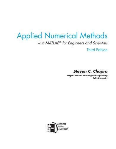 Applied numerical methods with MATLAB for engineers and scientists by Steven C. Chapra