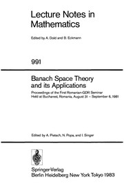 Cover of: Banach space theory and its applications