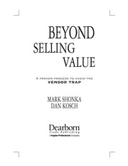 Cover of: Beyond selling value | Mark Shonka