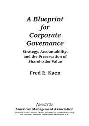 Cover of: A blueprint for corporate governance