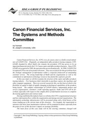 Cover of: Canon Financial Services, Inc. The Systems and Methods Committee | Ira Yermish