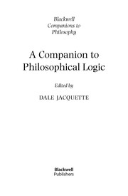 Cover of: A companion to philosophical logic |