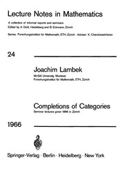 Cover of: Completions of categories | Joachim Lambek