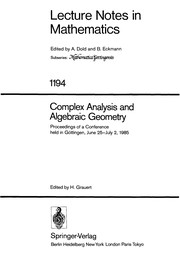 Cover of: Complex analysis and algebraic geometry