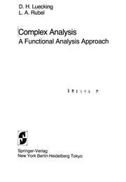 Cover of: Complex analysis | D. H. Luecking