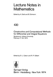 Cover of: Constructive and computational methods for differential and integral equations | Symposium on Constructive and Computational Methods for Differential and Integral Equations Indiana University, Bloomington 1974.