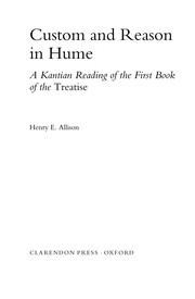 Cover of: Custom and reason in Hume | Henry E. Allison