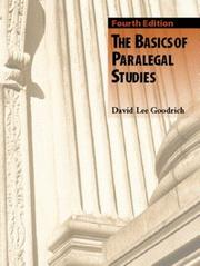 Cover of: The Basics of Paralegal Studies