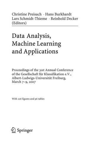 Data analysis, machine learning and applications by Gesellschaft für Klassifikation. Jahrestagung