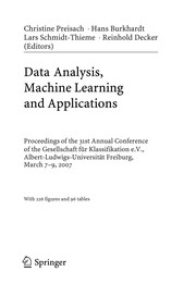 Cover of: Data analysis, machine learning and applications | Gesellschaft für Klassifikation. Jahrestagung
