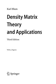 Cover of: Density Matrix Theory and Applications | Karl Blum
