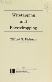Cover of: Wiretapping and eavesdropping