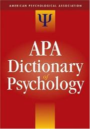 Cover of: The APA Dictionary of Psychology