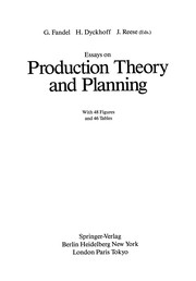 Cover of: Essays on Production Theory and Planning | G. Fandel