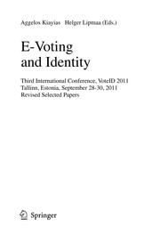 Cover of: E-Voting and Identity | Aggelos Kiayias