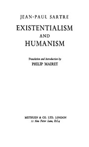 Cover of: Existentialism and humanism | Jean-Paul Sartre